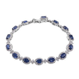20.75 Ct Himalayan Kyanite and Cambodian Zircon Tennis Style Bracelet in Sterling Silver 8 Inch