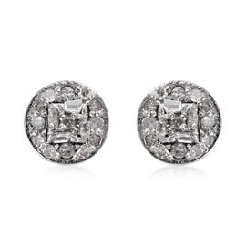 Diamond (Rnd and Bgt) Stud Earrings (with Push Back) in Platinum Overlay Sterling Silver 0.20 Ct.