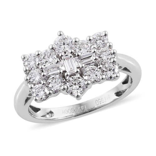Limited Available- RHAPSODY 950 Platinum IGI Certified Diamond (Rnd) (VS/E-F) Boat Cluster Ring 1.00