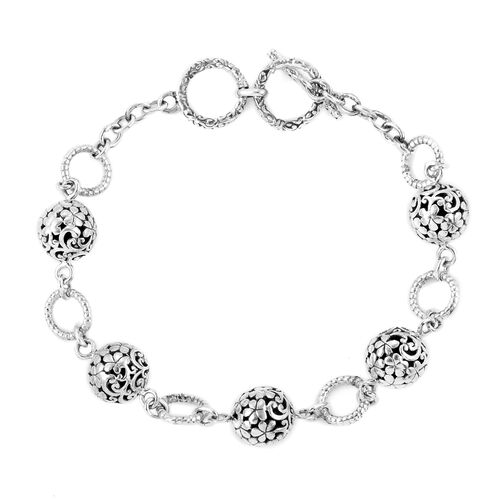Royal Bali Collection- Sterling Silver Ball Beads Bracelet (Size 7.50 with Half inch Extender), Silver wt 10.48 Gms.