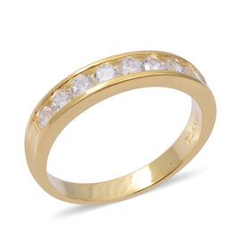 ELANZA Simulated Diamond (Rnd) Ring in Yellow Gold Overlay Sterling Silver, Silver wt 3.08 Gms.