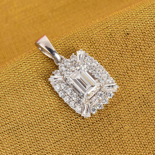 J Francis Platinum Overlay Sterling Silver Pendant Made with SWAROVSKI ZIRCONIA 3.40 Ct.