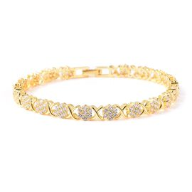 ELANZA Simulated Diamond Criss Cross Floral Bracelet in Gold Plated Silver 12.08 Grams 8 Inch