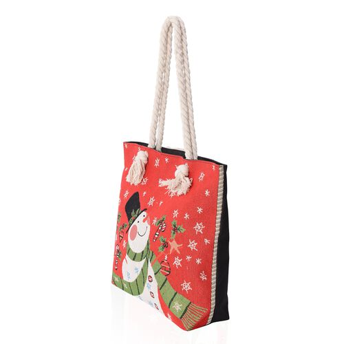 Super Chic Christmas Happy Snowman Holiday Happy Pattern Red Large Tote Handbag (45x36x11cm)