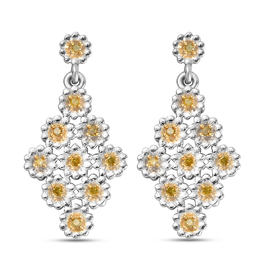 GP Italian Garden Collection- Yellow Diamond and Kanchanaburi Blue Sapphire Earrings (with Push Back