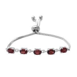 Mozambique Garnet (Ovl) Bolo Bracelet (Size 6.5-8 Adjustable) in Sterling Silver and Steel 2.60 Ct.