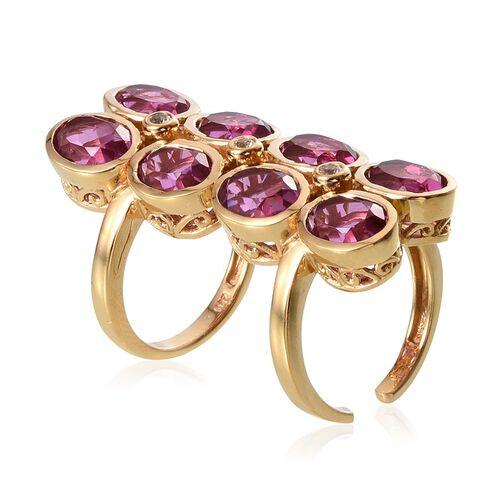 Kunzite Colour Quartz (Ovl), White Topaz Ring in 14K Gold Overlay Sterling Silver 12.000 Ct. Silver wt 10.30 Gms.