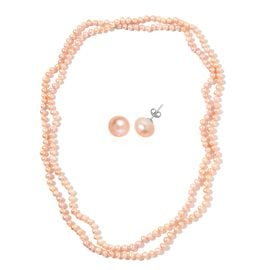 Fresh Water Peach Pearl Necklace (Size 64) and Stud Earrings (with Push Back) in Rhodium Plated Sterling Silver 580.002 Ct.