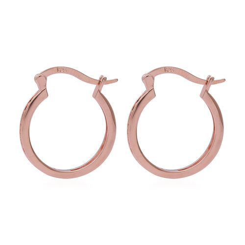 ELANZA Simulated Diamond Hoop Earrings (with French Clip) in Rose Gold Overlay Sterling Silver