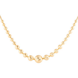 Made in Italy 9K Yellow Gold Graduated Diamond Cut Bead Necklace (Size 18 with 2 Inch Extender), Gold wt 13.15 Gms.