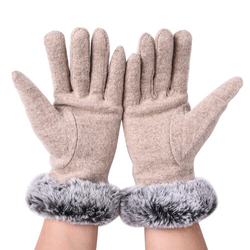 Solid Khaki Cashmere Gloves with Bowknot Detail and Grey Faux Fur Trim