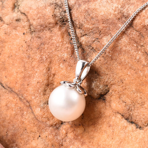 Galatea Pearl- Edison Momento Talking Pearl Pendant With Chain (Size 18) in Rhodium Overlay Sterling Silver