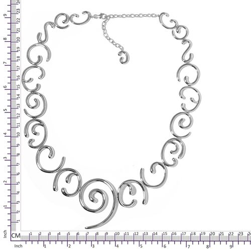 LucyQ Swirl Necklace (Size 20 with 4 inch Extender) in Rhodium Plated Sterling Silver 98.50 Gms.