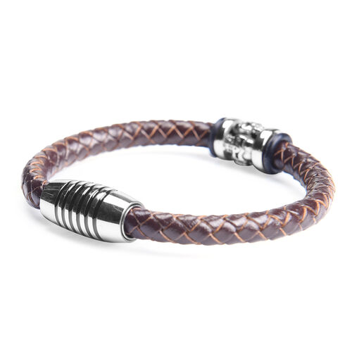 Genuine Braided Leather Enamelled Bracelet (Size 7) in Stainless Steel - Brown