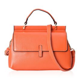 Super Soft 100% Genuine Leather Orange Colour Tote Bag with External Zipper Pocket and Removable Sho