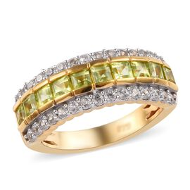 Chinese Peridot (1.90 Ct),Cambodian Zircon 14K Gold Overlay Sterling Silver Ring  1.500  Ct.