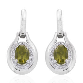2.34 Ct Vesuvianite and Cambodian Zircon Halo Earrings in Platinum Plated Sterling Silver