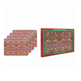 Set of 4 - Lesser & Pavey - Willam Morris Strawberry Thief Red Placemats (29x21.5cm)