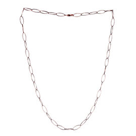 JCK Vegas Collection Rose Gold Overlay Sterling Silver Diamond Cut Oval Link Chain (Size 20), Silver wt 4.60 Gms.