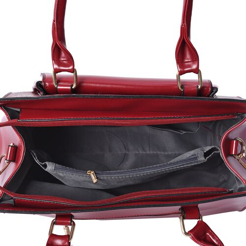 Snake Pattern Satchel Bag with Detachable Shoulder Strap and Zipper Closure (Size 33x28x11 Cm) - Red