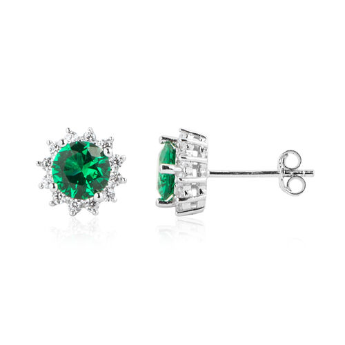 ELANZA Simulated Emerald (Rnd),Simulated Diamond Earrings (with Push Back) in Rhodium Overlay Sterling Silver