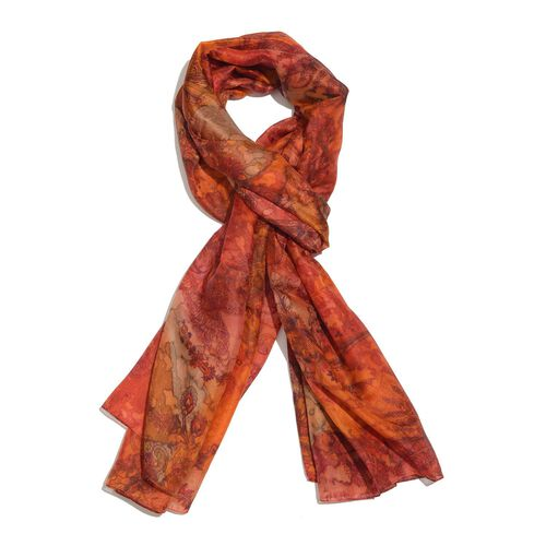 100% Mulberry Silk Red, Orange and Multi Colour Water Stroke and Floral Hand Screen Printed Scarf (Size 180X100 Cm)
