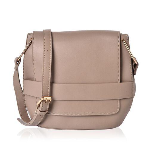 Light Camel Colour Crossbody Bag With Adjustable Shoulder Strap (Size 26.5x22.5x13 Cm)