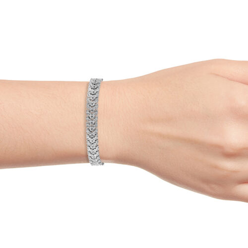 Diamond (Rnd) Bracelet (Size 7.5) in Platinum Overlay Sterling Silver 2.00 Ct.
