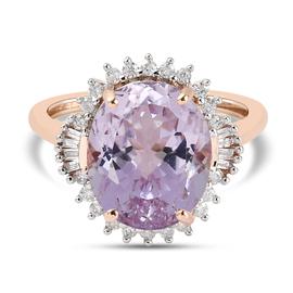 9K Rose Gold  Martha Rocha Kunzite and Diamond Ring 6.45 Ct.