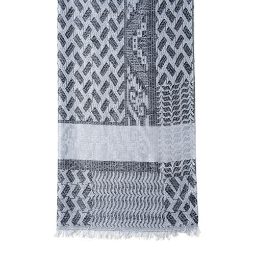 Black, Grey and Silver Colour Scarf with Geometric Drawing and Strip Pattern (Size 190x70 Cm)