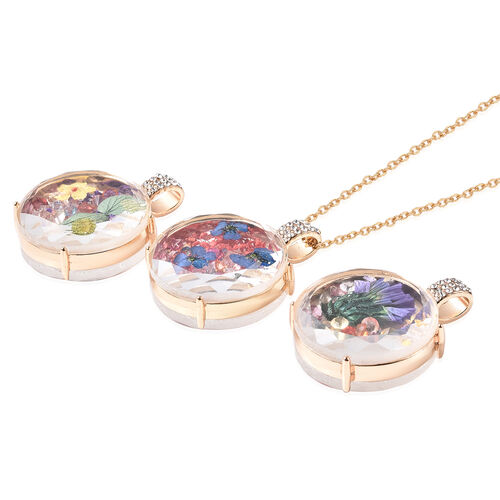 Set of 3 - Simulated Diamond and Multi Colour Austrian Crystal Dried Flower Pendants with Chain (Size 24) in Yellow Gold Tone