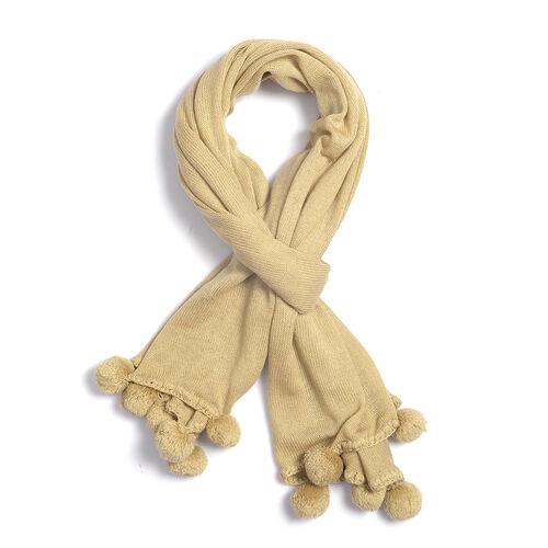 Solid Knit Scarf with Pom Poms (Size 178x80 Cm) - Colour Beige