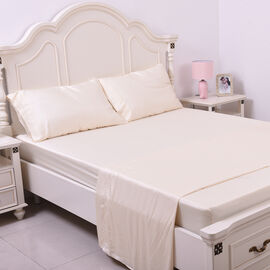 Serenity Night 4 Piece Set - 100% Bamboo Sheet Set Inclds. 1 Flat Sheet, 1 Fitted Sheet & 2 Pillowcases (50x75cm) in Ivory
