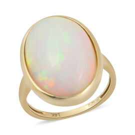 7 Carat AAA Ethiopian Welo Opal Solitaire Ring in 14K Yellow Gold 3.88 Grams