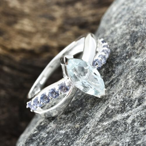 Espirito Santo Aquamarine (Mrq), Iolite Ring in Sterling Silver 1.250 Ct.