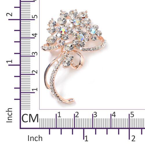 White Austrian Crystal (Rnd), Magic Colour Austrian Crystal Flower Brooch in Rose Gold Tone