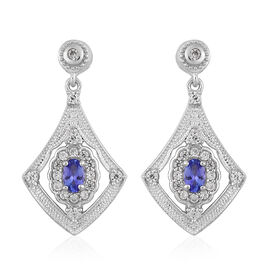 AAA Tanzanite and Natural Cambodian Zircon Dangling Earrings (with Push Back) in Platinum Overlay St