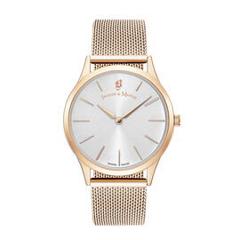 Jacques Du Manoir Emotion Swiss Movement Silver Dial and Rose Gold Case Water Resistant Watch with M