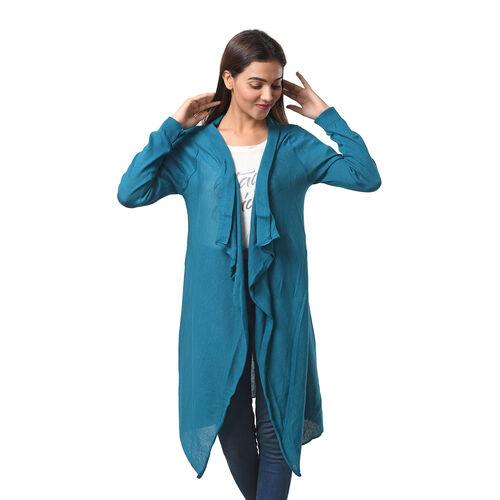 Marigold Lotus: 100% Cotton Knit Long Sleeve Waterfall Cardigan in Teal Green; S-M (UK Size 10-14)