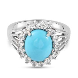Zircon, Sleeping Beauty Turquoise Halo Ring in Platinum Overlay Sterling Silver 3.61 ct  3.612  Ct.
