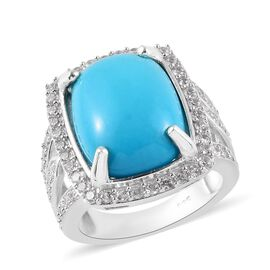 Arizona Sleeping Beauty Turquoise (Cush 16x12mm), Natural Cambodian Zircon Ring in Platinum Overlay