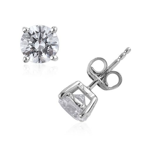 J Francis - Set of 4 - Platinum Overlay Sterling Silver Stud Earrings (with Push Back) Made with SWAROVSKI ZIRCONIA ( 0.5 Carat + 1 Carat + 2 Carat+ 4 Carat)