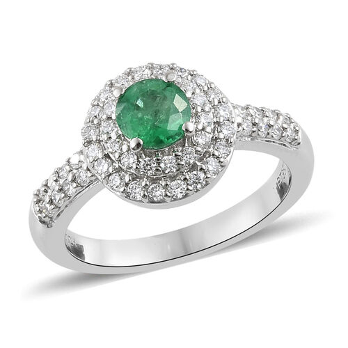 RHAPSODY 1 Carat AAAA Zambian Emerald and Diamond Halo Ring in 950 Platinum 6.88 Grams VS EF