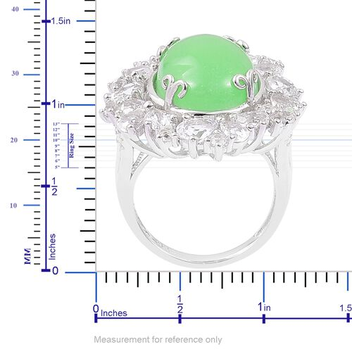Green Jade (Ovl 11.75 Ct), White Topaz Floral Ring in Rhodium Plated Sterling Silver 15.650 Ct. Silver wt. 5.27 Gms.