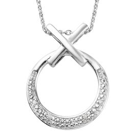 Diamond Hug and Kiss Pendant with Chain (Size 18) in Platinum Overlay Sterling Silver 0.05 Ct.