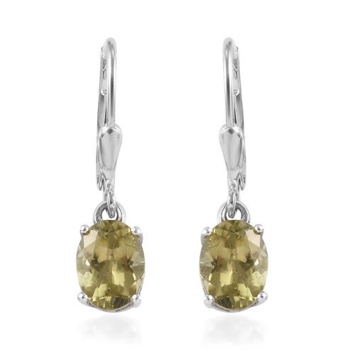 2.50 Ct Madagascar Yellow Apatite Solitaire Drop Earrings in Platinum Plated Sterling Silver