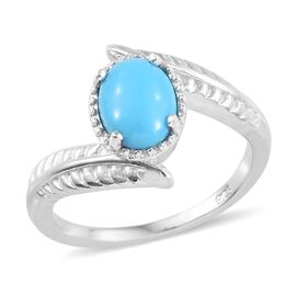 Arizona Sleeping Beauty Turquoise (Ovl) Bypass Ring in Platinum Overlay Sterling Silver 1.00 Ct.