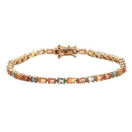 Yellow Sapphire, Green Sapphire and Orange Sapphire Bracelet (Size 7.5) in 14K Gold Overlay Sterling