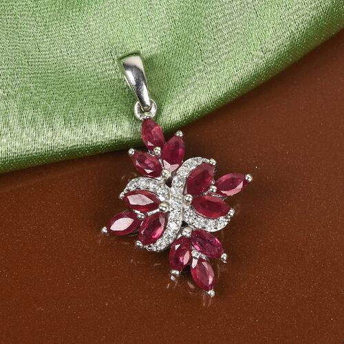 African Ruby and Natural Cambodian Zircon Pendant in Platinum Overlay Sterling Silver 2.45 Ct.