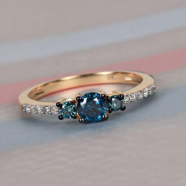 9K Yellow Gold Blue Diamond and White Diamond (I3/G-H) Ring 0.50 Ct.